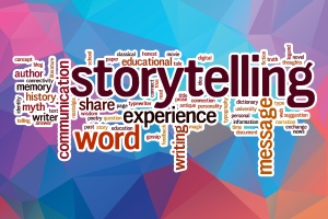 Storytelling word cloud with abstract background
